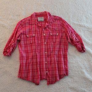 Pink Plaid Button Down Shirt
